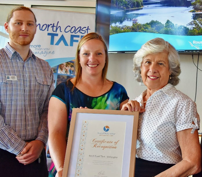 North Coast Tafe Wollongbar campus being recognised as a Sustainable Water Partner.